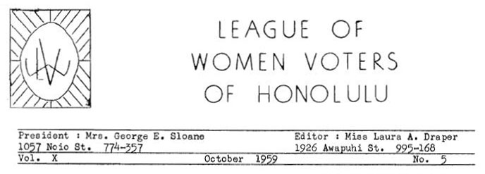 Aloha Voter October 1959 Calendar Of Events