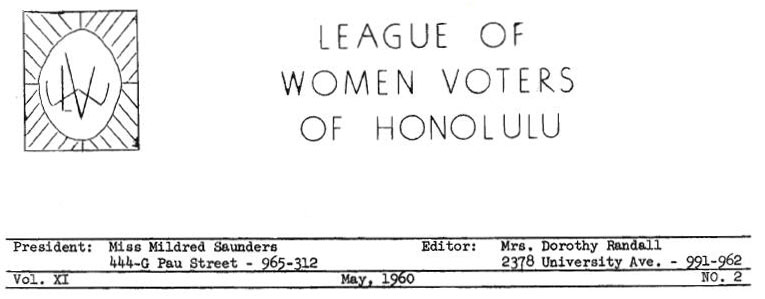 1960 Calendar.Aloha Voter May 1960 Calendar Of Events