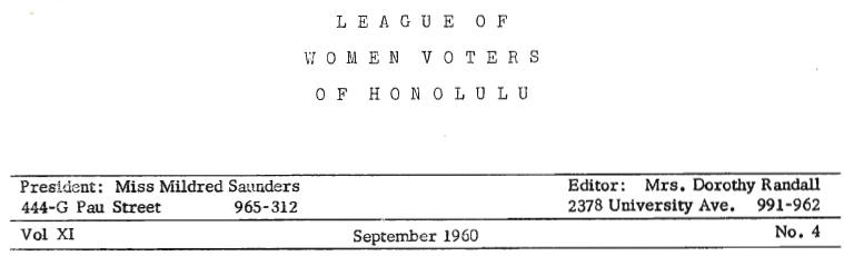 1960 Calendar.Aloha Voter September 1960 Calendar Of Events