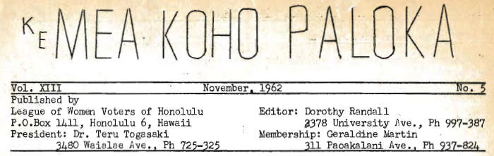 Aloha Voter November 1962 Calendar Of Events