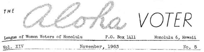 Aloha Voter November 1963 Calendar Of Events