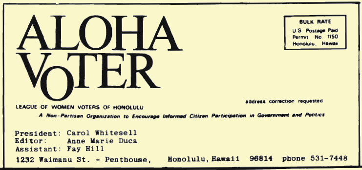 Aloha Voter October 1976 October Calendar