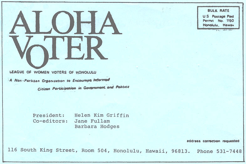 Aloha Voter October 1978 Calendar