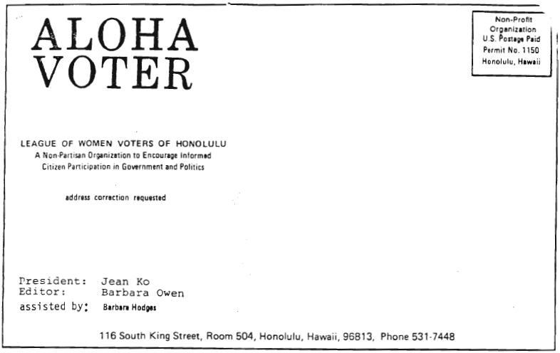 Aloha Voter March 1980 Calendar