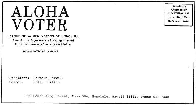 Aloha Voter November 1980 Calendar