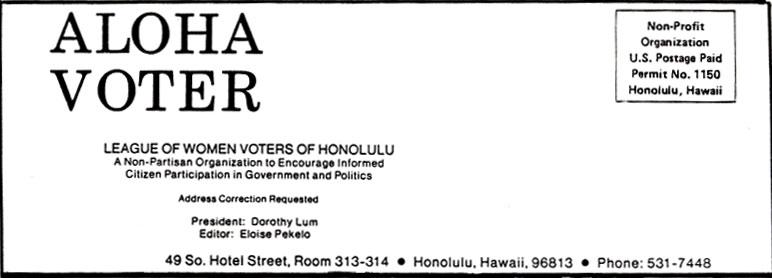 Aloha Voter May June 1984 Calendar