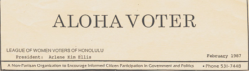 Aloha Voter February 1987 Calendar Of Events