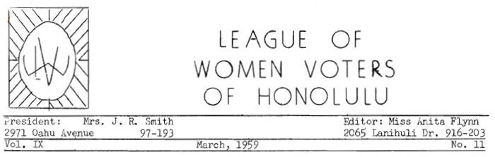 Aloha Voter March 1959 Calendar Of Events