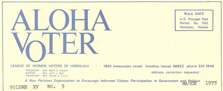 Aloha Voter March 1975 Calendar
