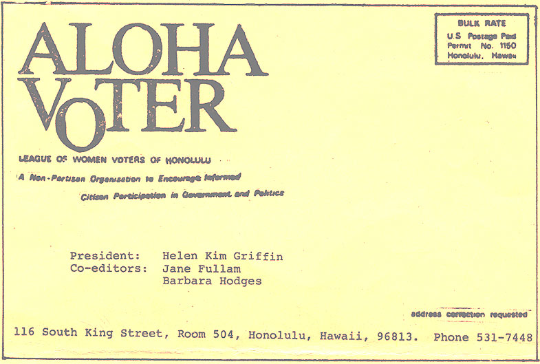 1978 Calendar September.Aloha Voter September 1978 Calendar 1978 79